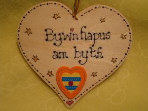 **SALE** was £3.99 Byw'n Hapus Am Byth Live Happily Forever Wooden Heart Sign Handmade Plaque Unique OOAK Welsh Gift